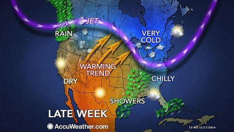 Coldest weather since last march grips the US -  November 2014