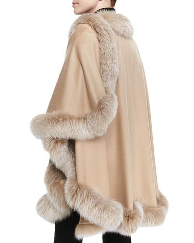 Frosted Fox Fur-Trimmed Cashmere U-Cape ($1,995.00) by Sofia Cashmere