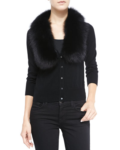 Fur-Collar Knit Cardigan ($495.00) by Milly