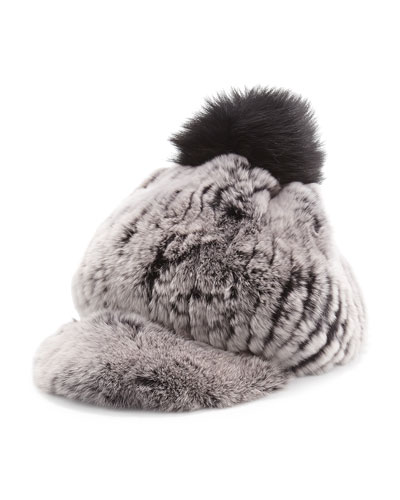 Fur Pompom Cap ($220.00) by Jocelyn