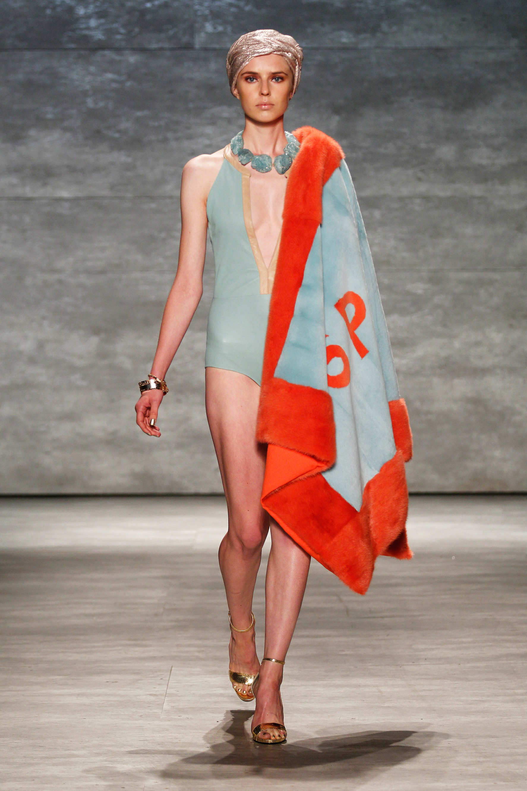 Georgine's mink wrap from the Spring/Summer 2015