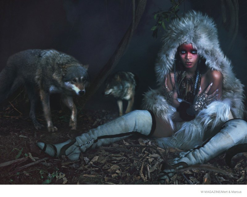 "Cover girl Rihanna was featured in the September issue of ""W"" magazine in natural grey tone furs"