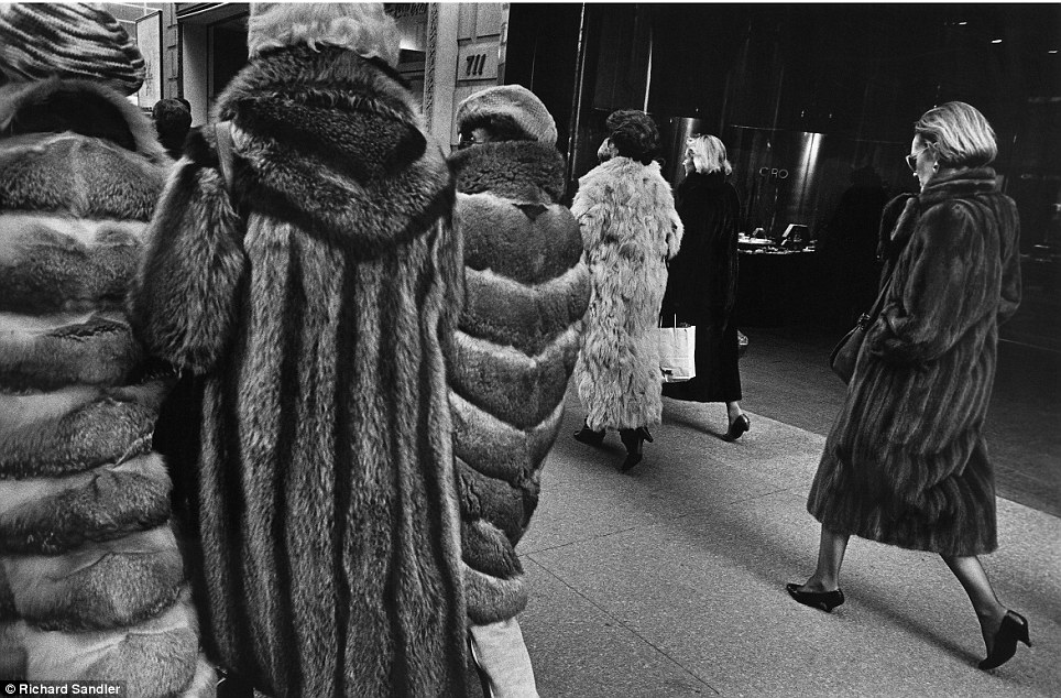 Classic taste: Ladies who lunch walking on Fifth Avenue in full-length fur coats, 1987.