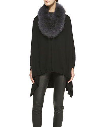 Mix & Match Fox Collar for Izzy Open-Front Draped Sweater ($297.00) by Alice + Olivia
