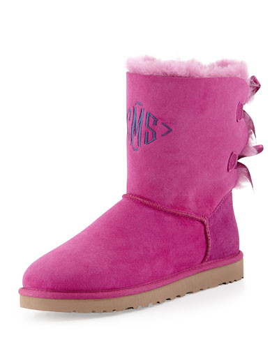 Monogrammed Bailey Bow-Back Short Boot ($220.00) by UGG Australia