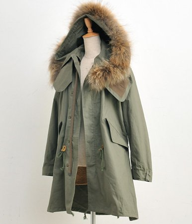 Removable fur trim parks / liner military coat