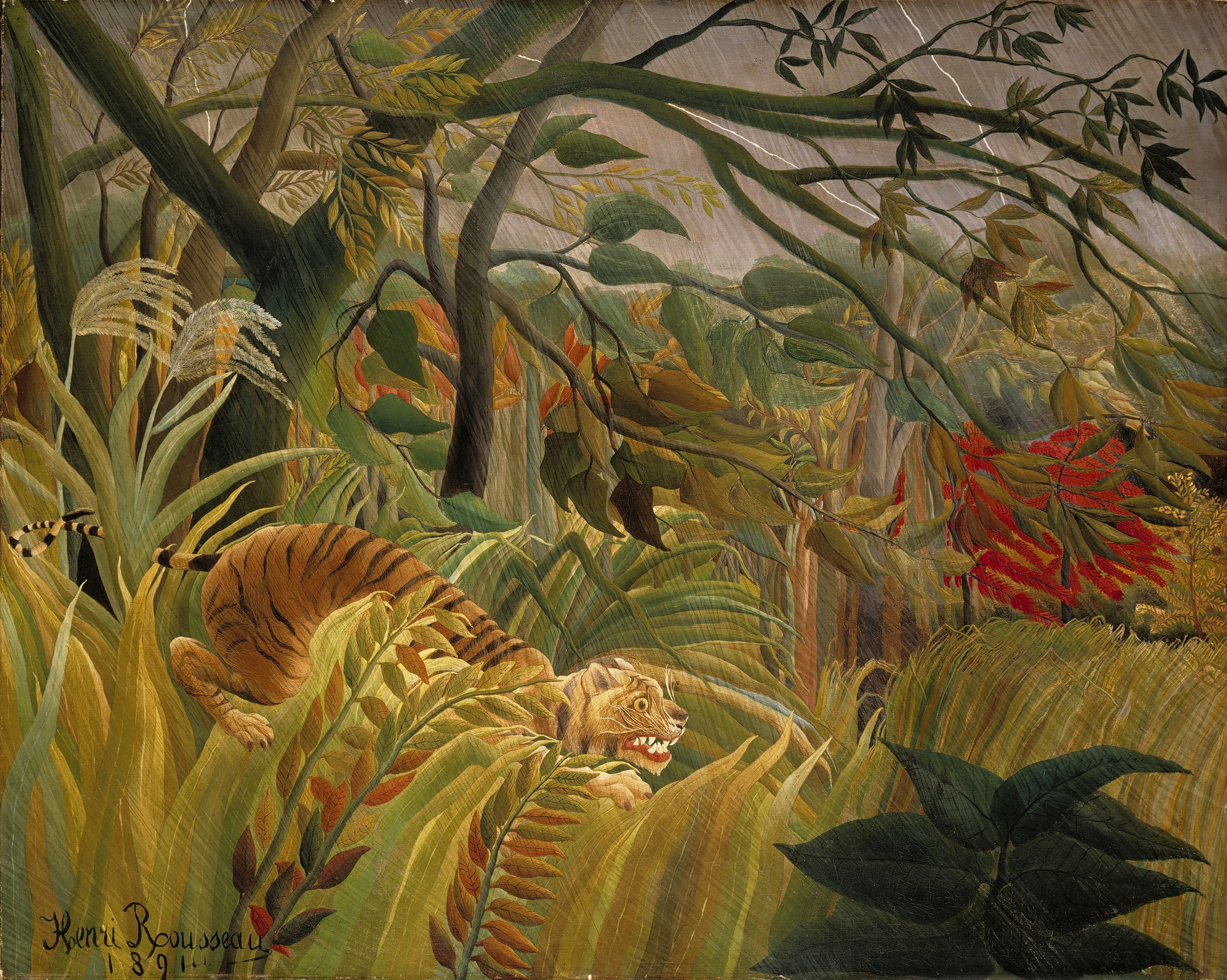 """Tiger in a Tropical Storm"" by Henri Rousseau, 1891"