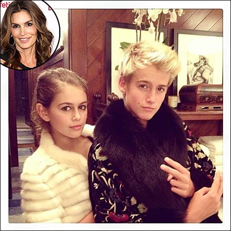Earlier this year, supermodel Cindy Crawford shared this adorable picture of her kids, daughter Kaia and son Presley, having fun with their fur fashion
