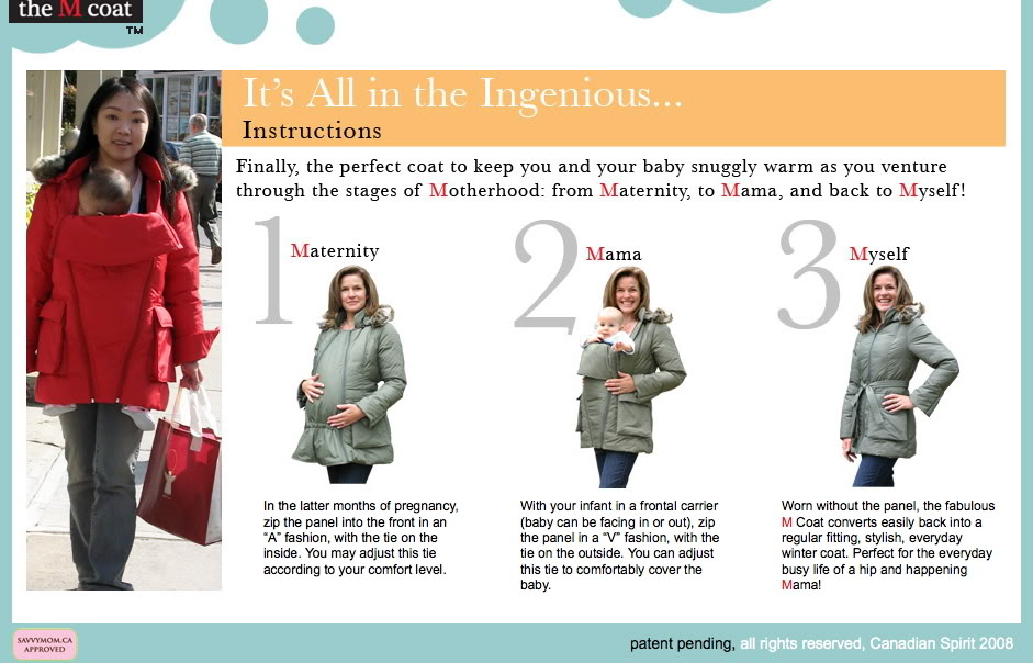 The M Coat can be worn as maternity outerwear and two ways pre or post pregnancy