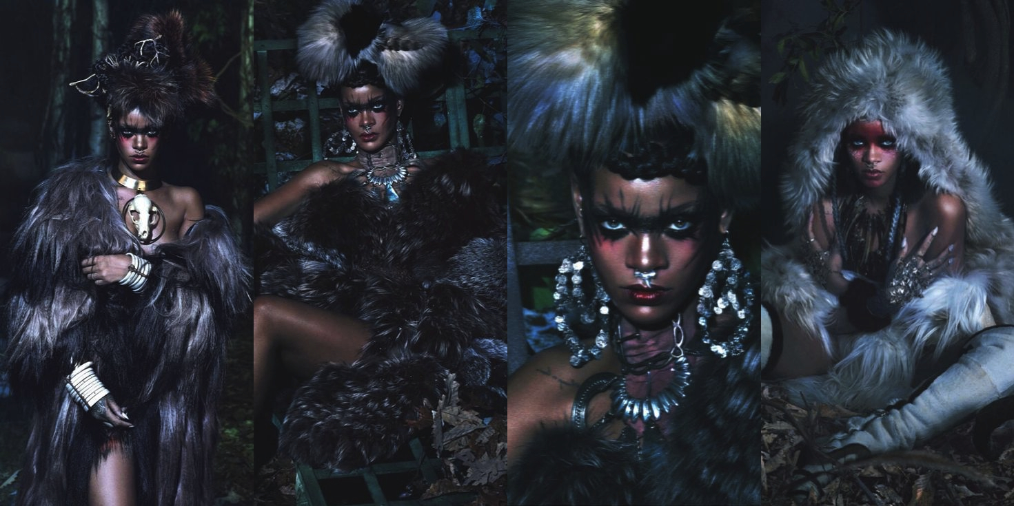 "Rihanna's epic ""wilderness inspired"" spread in September 2014's  W magazine"