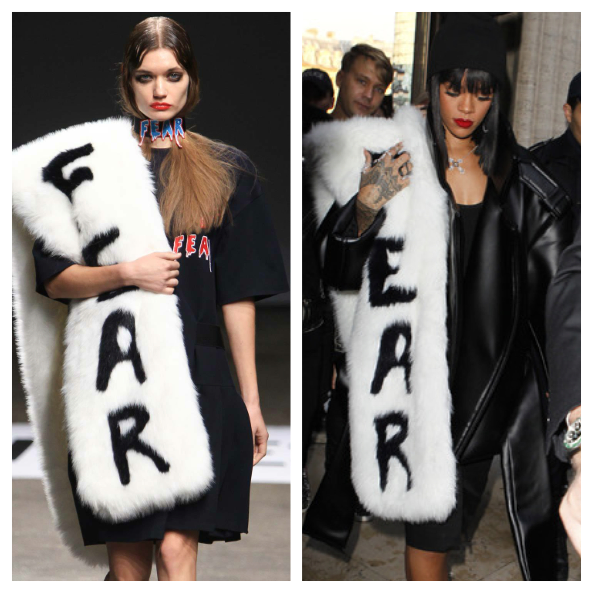 Rihanna rocked the VFiles Fall 2014 - Winter 2015 oversized fur scarf during Paris Fashion Week