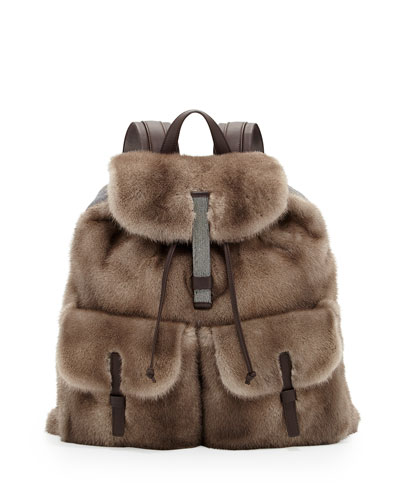 Brunello Cucinelli dyed mink backpack