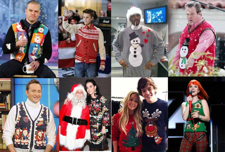 Celebs embracing the holiday sweater