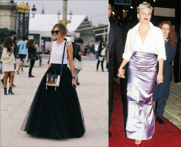 High & Low combo - long elegant skirts with casual tops (fashionista today vs. Sharon Stone in 1990s)