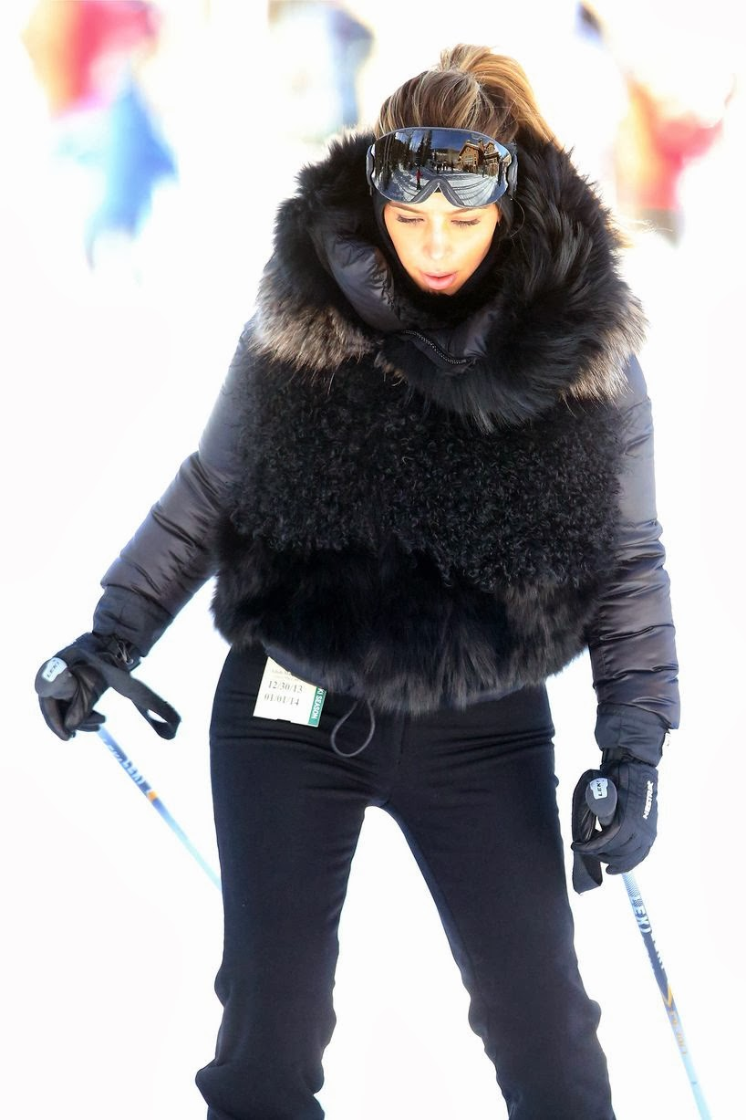 Even on the slopes Kim Kardashian keeps her style post and warm
