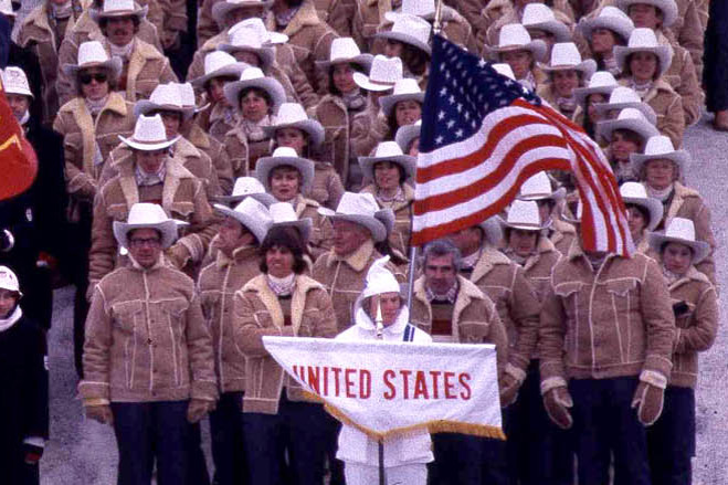 Levi Strauss & Co. created shearling jackets, mittens and cowboy hats for the U.S. team to wear at the 1980 Olympics in Lake Placid, NY. - Associated Press