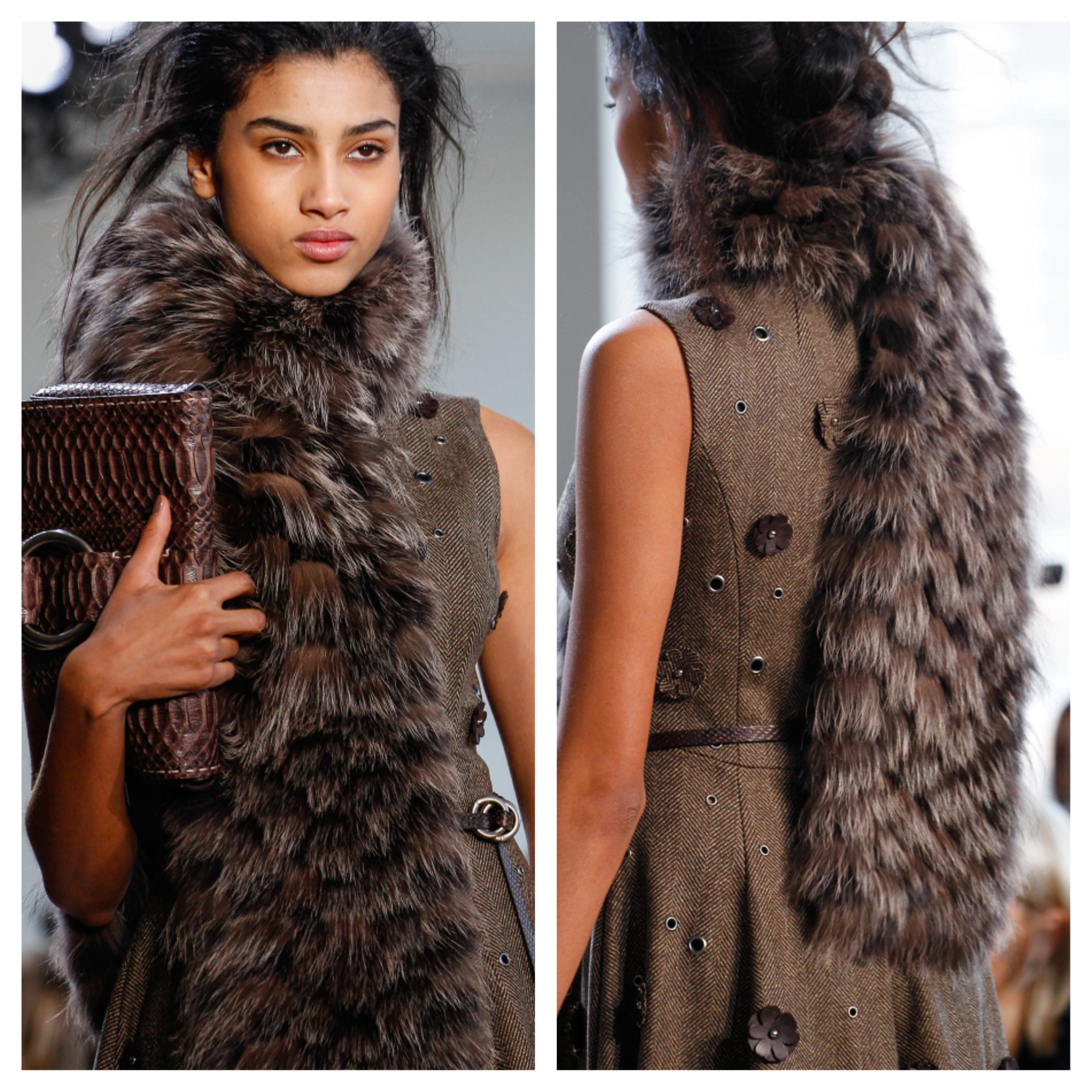 Michael Kors knitted fox scarf Fall 2014-Winter 2015