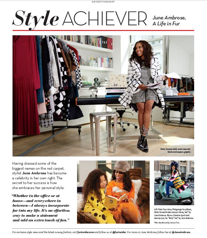 June was featured in as the 2014/15 Style Achiever for the national FurInsider campaign