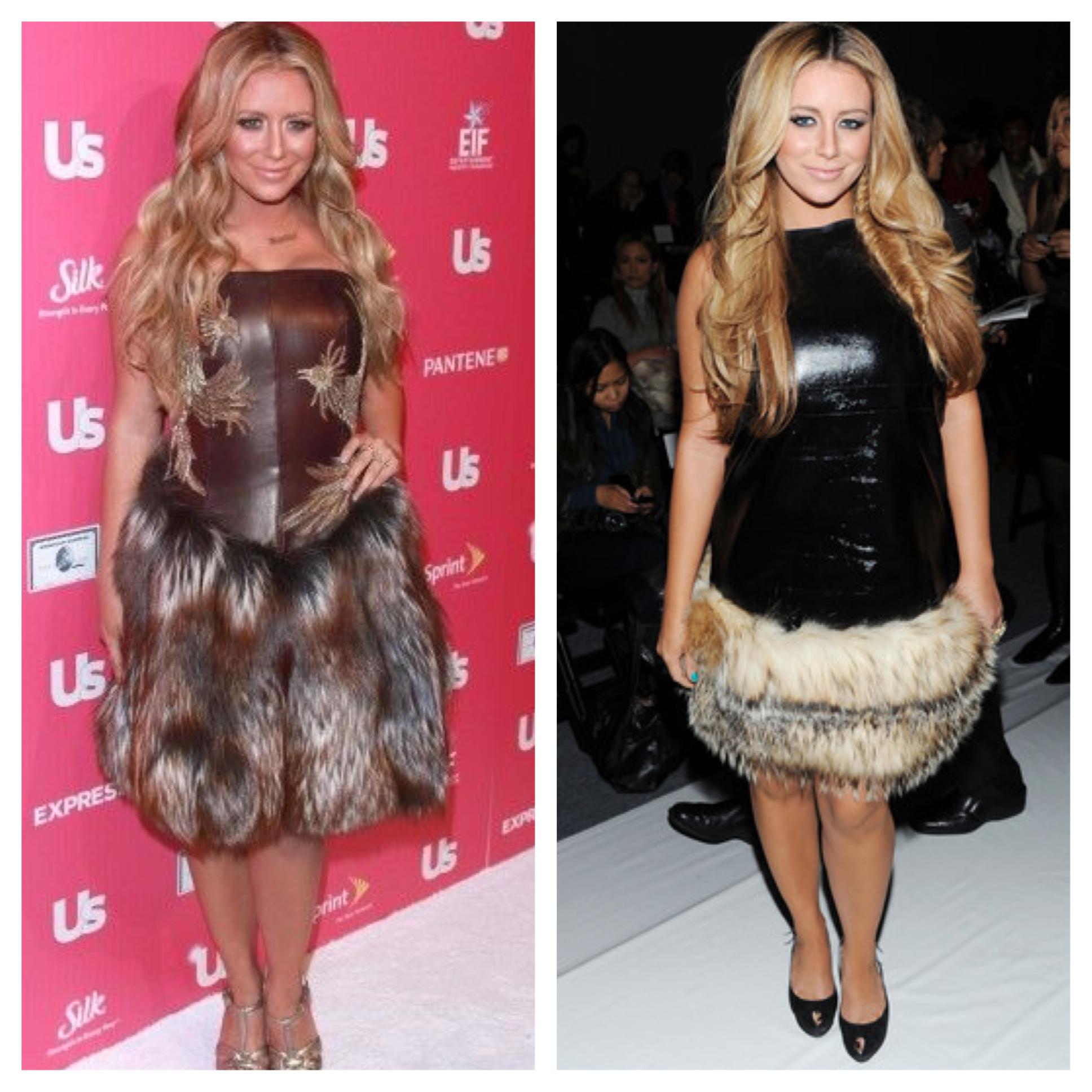 Singer Aubrey O'Day loves to rock fur-trimmed dresses