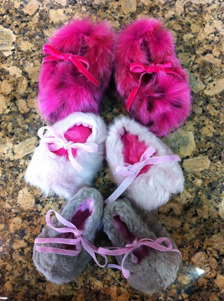Fur baby booties from Somper Furs