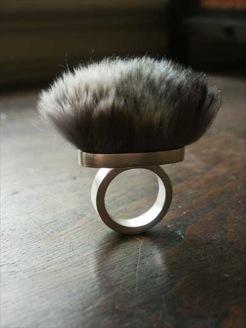 Fur ring by Gayle Friedman