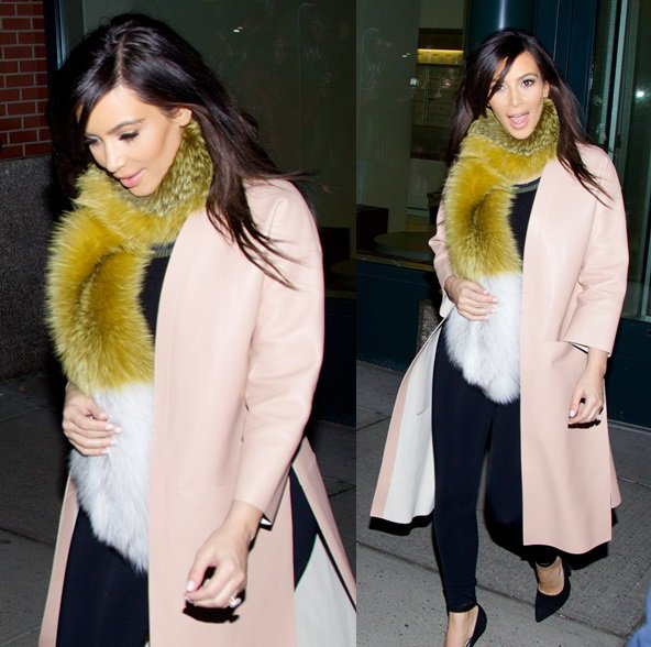 kim-kardashian-fur-scarf-pink-coat-soho-new-york-february-23-2014
