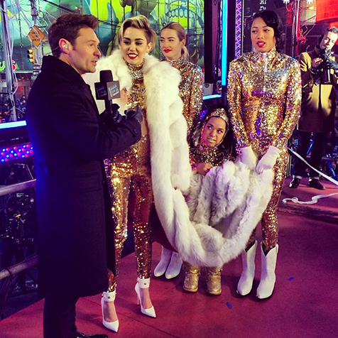 Miley Cyrus wowed in a floor length fox at last years  New Year's Rockin' Eve with Ryan Seacrest 2014