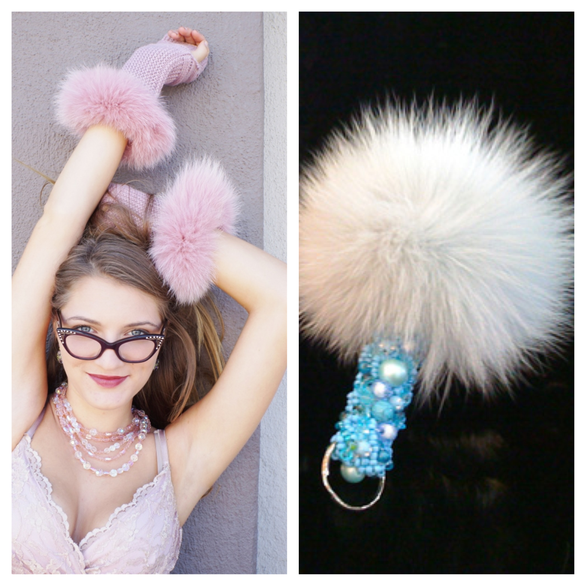 Rabbit trimmed gloves and a jeweled rabbit purse charm from Somper Furs
