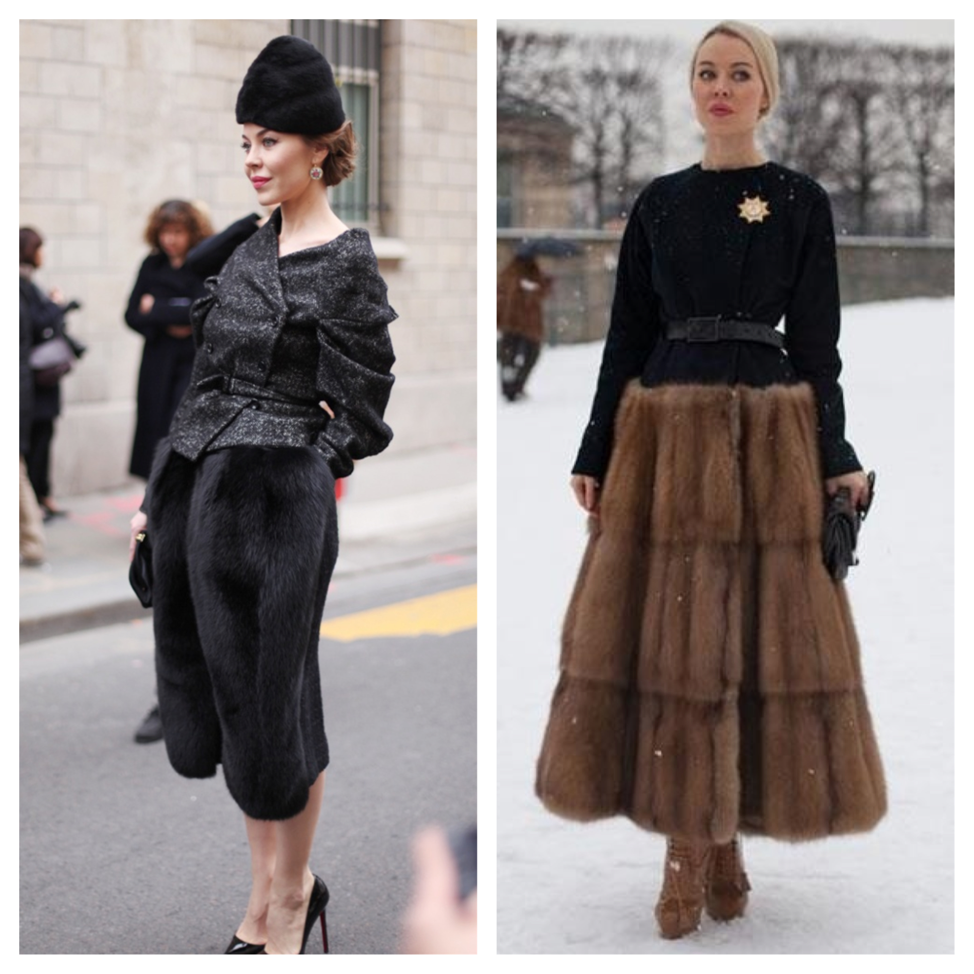 Two Fashion Week fur skirt looks, from earlier this year, that were so powerfully polished that it stopped us in our tracks!
