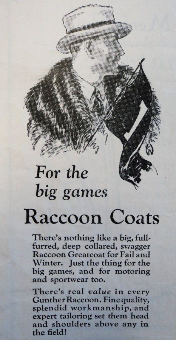 Sports Fan Must Have - 1920s advertisement celebrating the functionality of the great raccoon coat