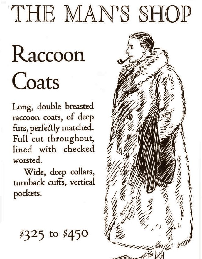 1920s advertisement celebrating the functionality of the great raccoon coat