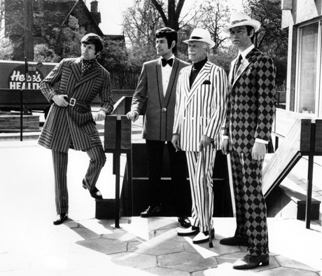 New revolutionary Cremplene fashions for men, reminiscent of the Regency days, are shown in London, England on April 17, 1970