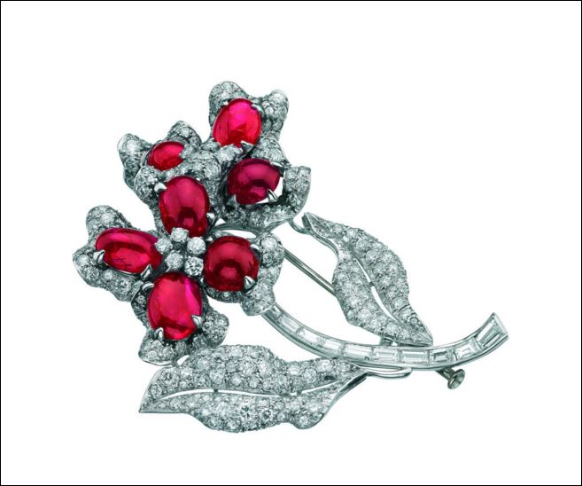 Platinum brooch set with rubies and diamonds from the Bulgari Heritage Collection c 1958