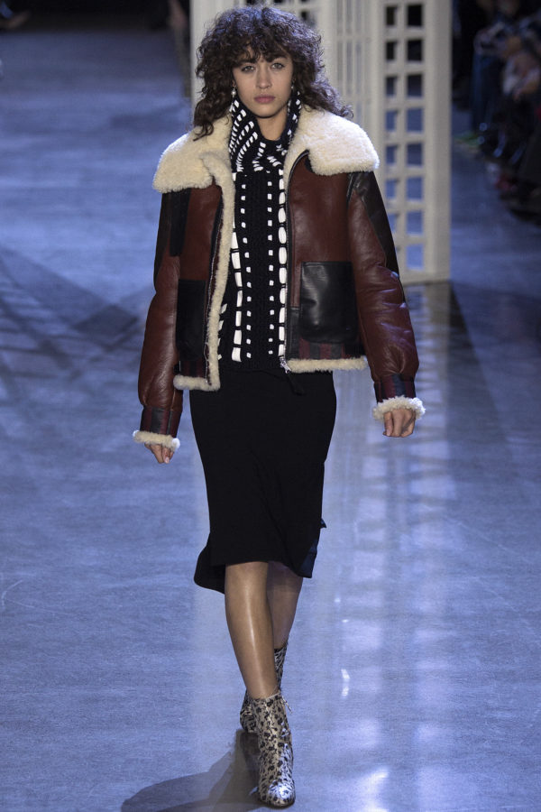 A boxier shearling moto jacket by Altuzarra is a more subtle and relaxed edgy statement