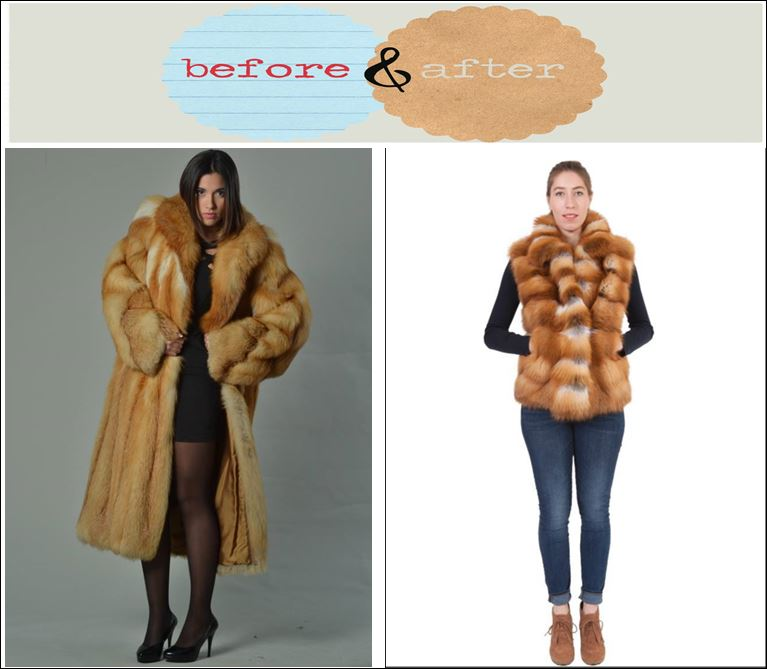 A stunning red fox vest restyled by Jacques Ferber Furs in Philadelphia , PA