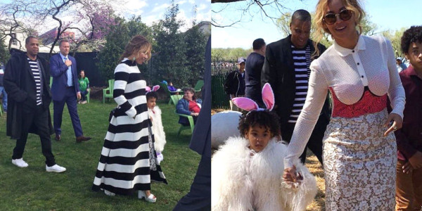 Beyonce,along with husband Jay Z, arrive, with their daughter Blue Ivy Carter , at the 2016 White House Easter Egg Hunt