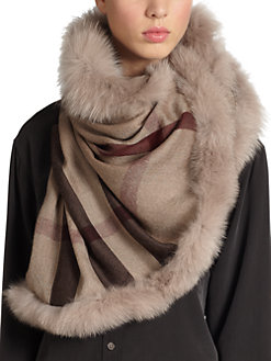 Burberry fox trimmed scarf