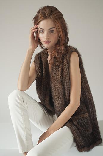 Knitted mink vest by Adrienne Landau SPring 2016