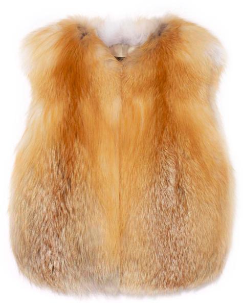 Colarless red fox vest by Pologeorgis