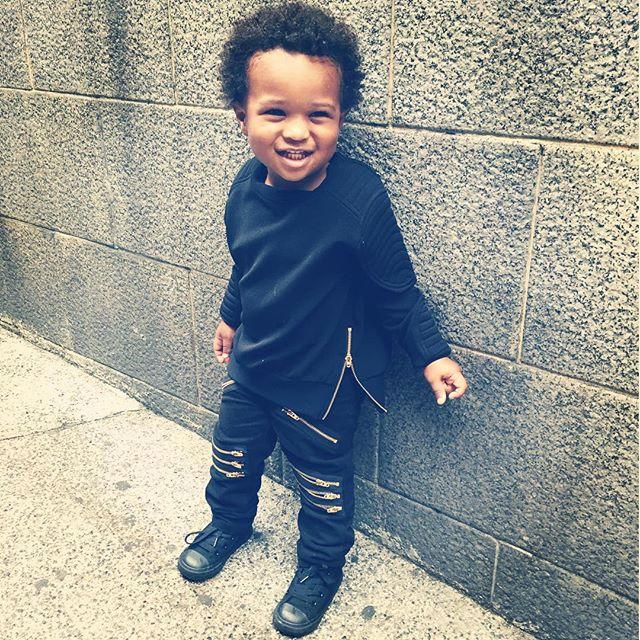 Ciara's son, née Future Zahir Wilburn, in a Balmain tracksuit