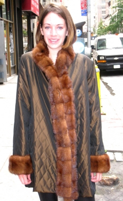 sporty, reversible microfiber 3/4 coat w/ crosscut mink trim (from your coat) on the collar, tuxedo & cuffs. by Henry Cowit Furs in New York City