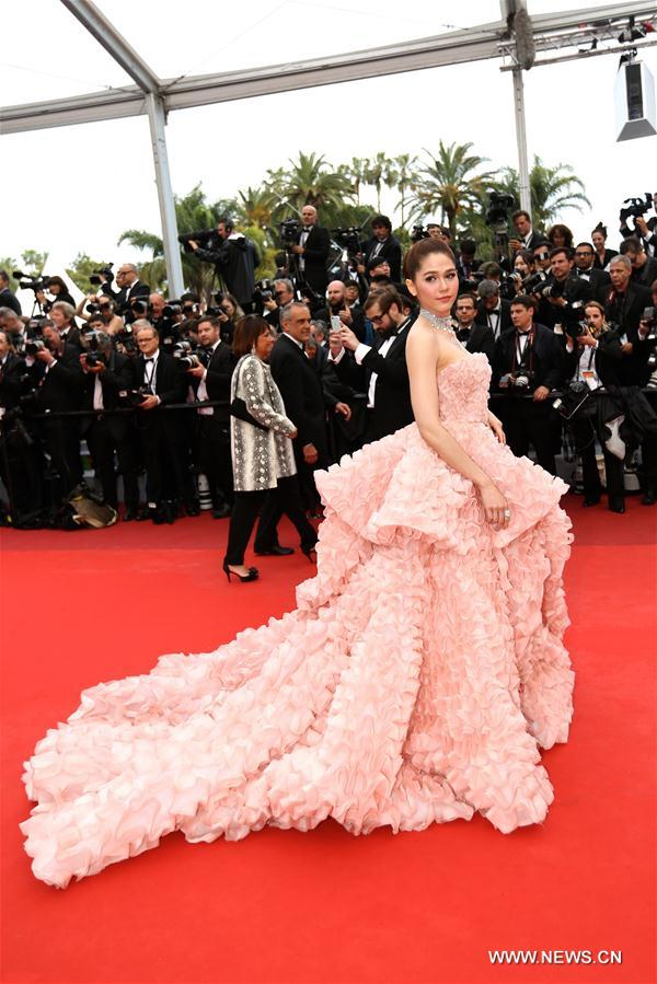 Actress Araya A. Hargate poses on the red carpet before the opening of the 69th Cannes Film Festival in Cannes