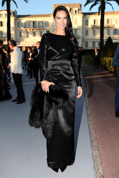 Adriana Lima - In an Alexander Terekov gown, Pologeorgis fur
