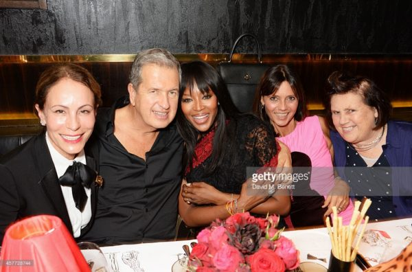 Dinner with friends (left to right) Andrea Dellal, Mario Testino, Naomi Campbell, Countess Debonaire von