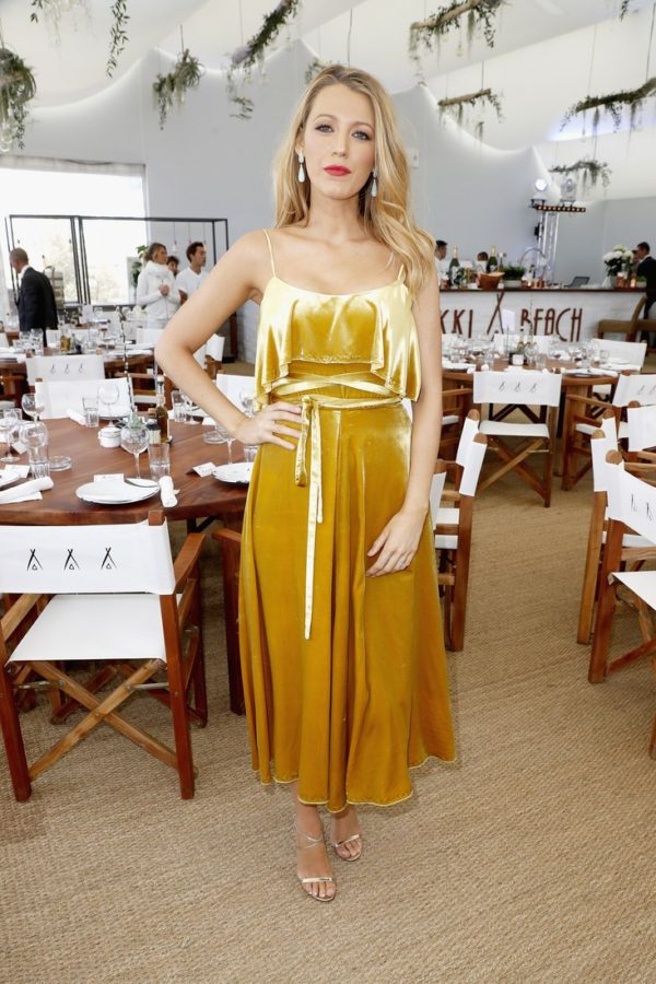 Blake Lively continued her streak of flawless Cannes outfits in a canary yellow day dress at the Cafe Society press luncheon.