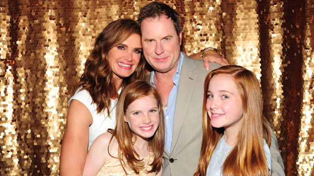 Brooke Shields, and husband Chris Henchy, with daughters Grier and Rowan