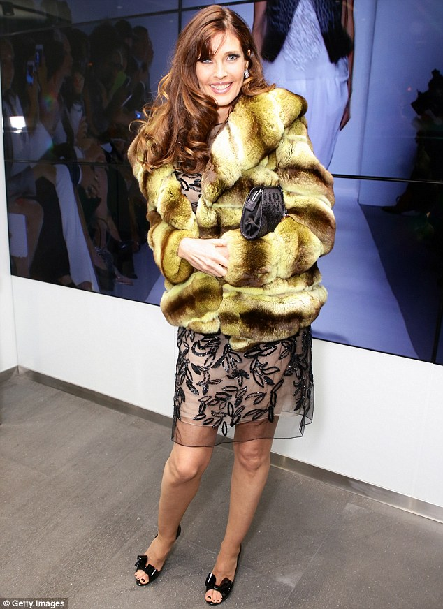 Carol Alt in a yellow rinsed chinchilla