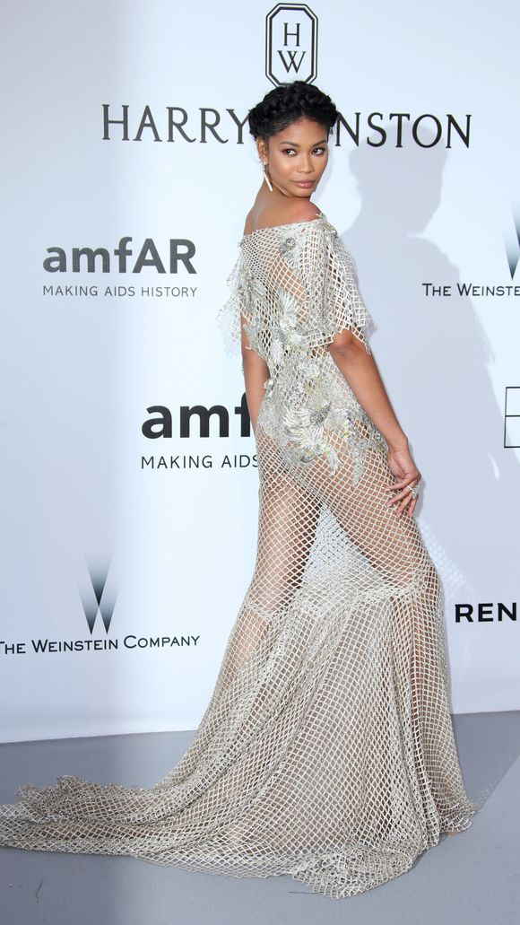 Chanel Iman - bobbles and beads Marchesa