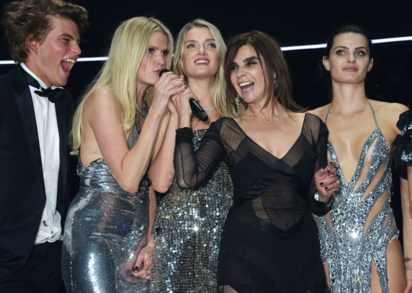 (L to R) Jordan Barrett, Lara Stone, Lily Donaldson, Carine Roitfeld and Isabeli Fontana speak onstage at amfAR's 23rd Cinema Against AIDS Gala