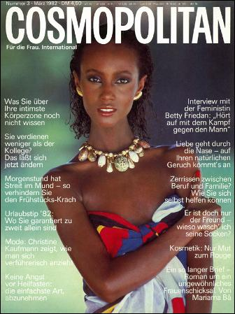 Iman on the cover of Cosmopolitan in 1982